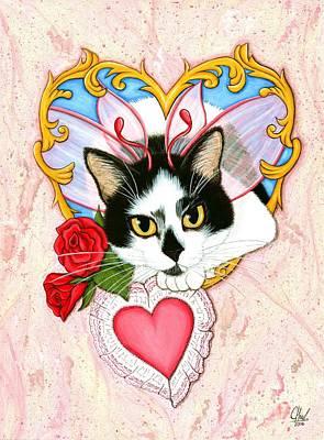 My Feline Valentine Tuxedo Cat Art Print by Carrie Hawks