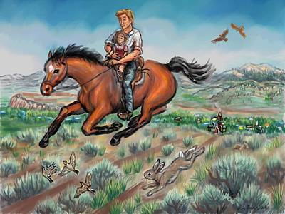 Drawing - My First Horseback Ride by Dawn Senior-Trask
