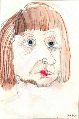 Drawing - My First Selfie by Carolyn Weltman