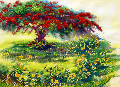 Puerto Rico Painting - My Flamboyant Tree by Estela Robles