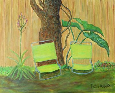 Painting - My Florida Green Backyard by Patty Weeks