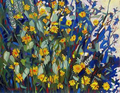 Birder Painting - My Flower Bed by Phil Chadwick