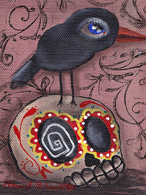 Crows Painting - My Friend by  Abril Andrade Griffith