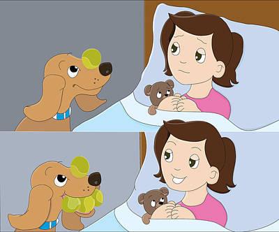 Storybook Drawing - My Friend Digger The Dog by Belinda Beeck