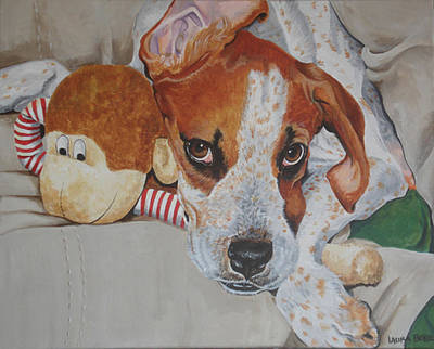 Lazy Dog Painting - My Friends Dog by Laura Bolle