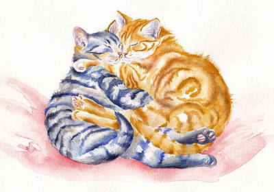 Cats Painting - My Furry Valentine by Debra Hall