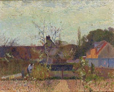Garden Scene Painting - My Garden In Spring by Joseph Delattre