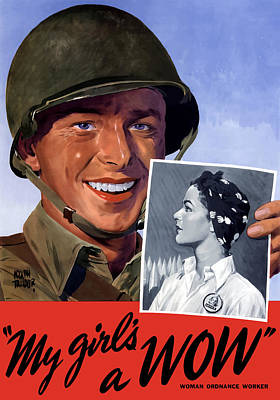 Warishellstore Mixed Media - My Girl's A Wow -- Ww2 Poster by War Is Hell Store