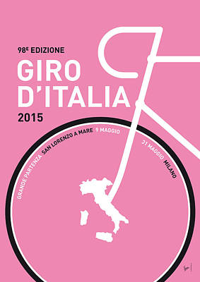 Cycling Digital Art - My Giro D'italia Minimal Poster 2015 by Chungkong Art
