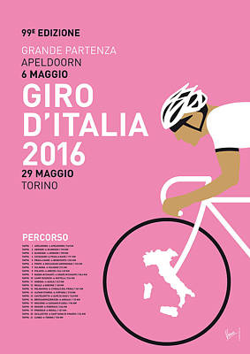 Cycle Digital Art - My Giro Ditalia Minimal Poster 2016 by Chungkong Art