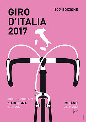Cycling Digital Art - My Giro Ditalia Minimal Poster 2017 by Chungkong Art