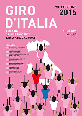 Cycle Digital Art - My Giro D'italia Minimal Poster Percorso 2015 by Chungkong Art