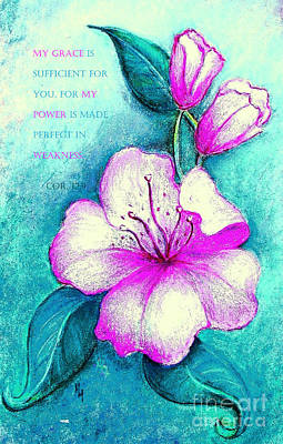 Painting - My Grace Is Sufficient - Verse by Hazel Holland
