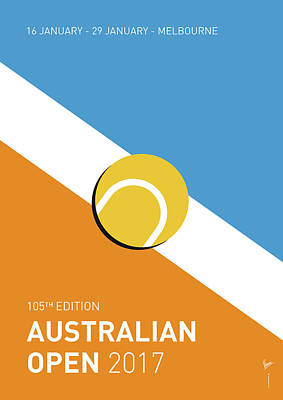 Tennis Digital Art - My Grand Slam 01 Australian Open 2017 Minimal Poster by Chungkong Art