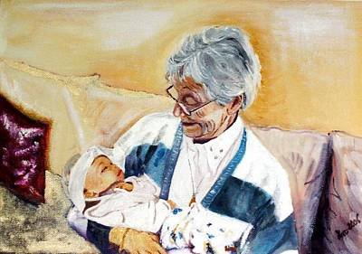my granddaughter Leonie with her great grandmum Art Print by Helmut Rottler
