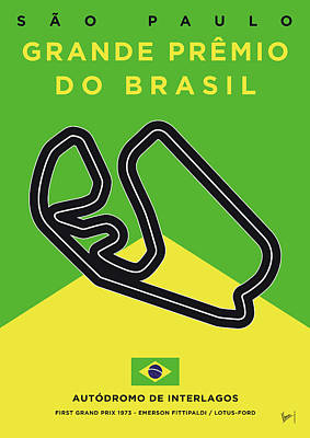 Sao Paulo Digital Art - My Grande Premio Do Brasil Minimal Poster by Chungkong Art