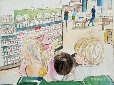 Painting - My Grandkids At The Grocery Store by Jill Morris