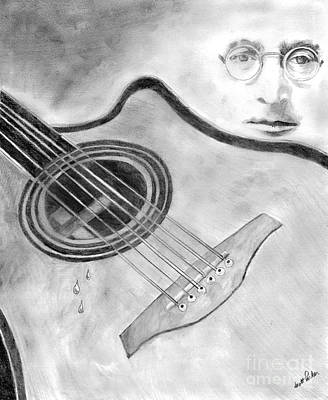 Weep Drawing - My Guitar Weeps by Scott Parker