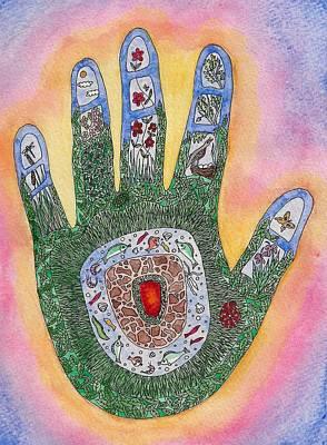 My Handprint On The World Art Print by Melanie Rochat