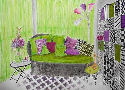 My Happy Place -- Drawing Of Colorful Moroccan Porch Art Print
