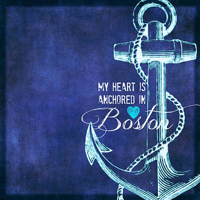 Fenway Mixed Media - My Heart Is Anchored In Boston Blue by Brandi Fitzgerald