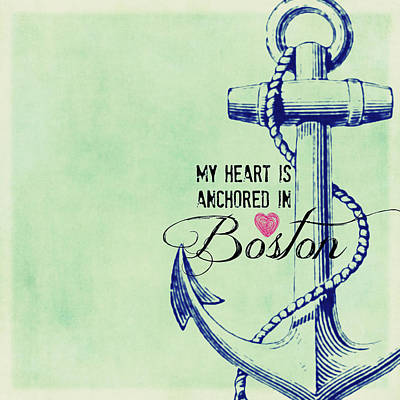 Fenway Mixed Media - My Heart Is Anchored In Boston Navy by Brandi Fitzgerald