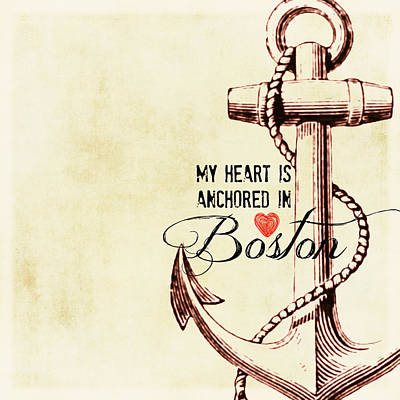 Fenway Mixed Media - My Heart Is Anchored In Boston Vintage by Brandi Fitzgerald
