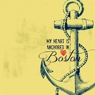 Fenway Mixed Media - My Heart Is Anchored In Boston Yellow by Brandi Fitzgerald