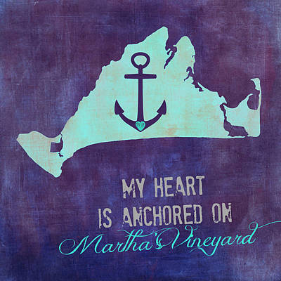 My Heart Is Anchored On Martha's Vineyard Blue Art Print by Brandi Fitzgerald