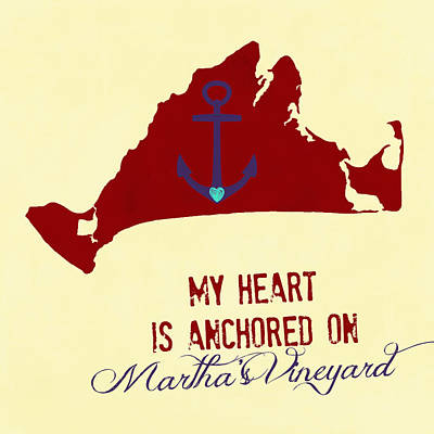 My Heart Is Anchored In Martha's Vineyard Yellow Art Print by Brandi Fitzgerald