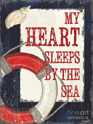 Coastal Quote Wall Art - Painting - My Heart Sleeps By The Sea by Debbie DeWitt