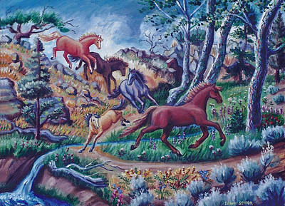 Painting - My Horses Crossing The Creek by Dawn Senior-Trask