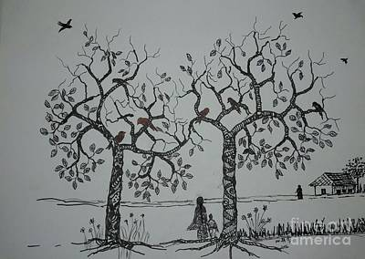 Drawing - My House Is On That Side by Usha Rai