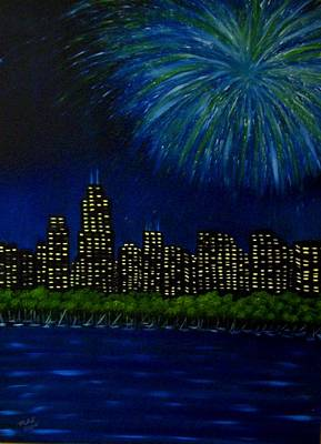 Fireworks Painting - My Kind Of Town by Marie Lamoureaux