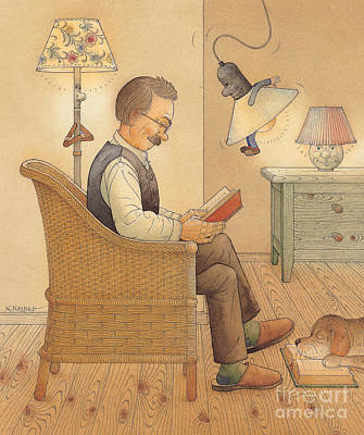 Reading Drawing - My Lamp by Kestutis Kasparavicius