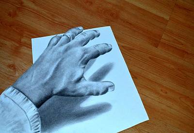 Drawing - My Left Hand by Alan Conder