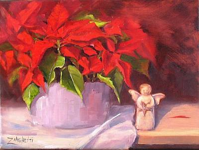Poinsettias Painting - My Little Angel by Laura Lee Zanghetti