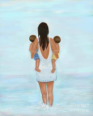 Painting - My Little Beach Boys by Leslie Allen