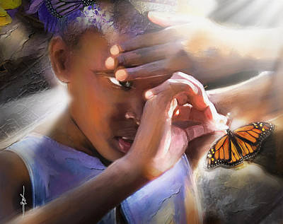 African Child Painting - My Little Butterfly by Bob Salo
