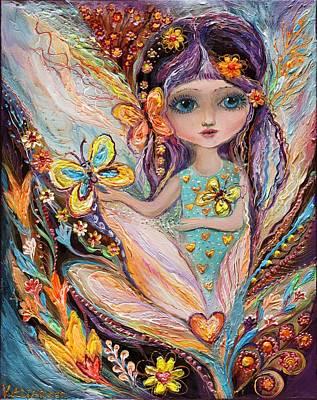 Big Eyed Girl Painting - My Little Fairy Pearlie by Elena Kotliarker