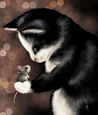 Digital Finger Painting - My Little Friend by Veronica Minozzi