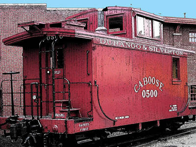 Digital Art - My Little Red Caboose by Gary Baird