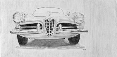 Italian Classic Car Drawing - My Love - Alfa Romeo by Michelle Hatfield