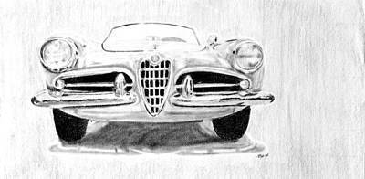 Italian Classic Car Drawing - My Love For Alfas by Michelle Hatfield