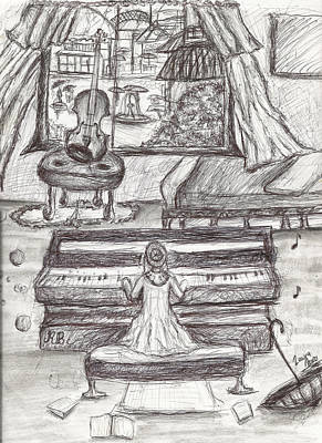 Rainy Day Drawing - My Love For Rain- Black White Girl Playing Piano Pen Drawing by Laura Haro
