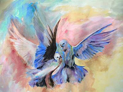 Pigeon Mixed Media - My Love by Khalid Saeed