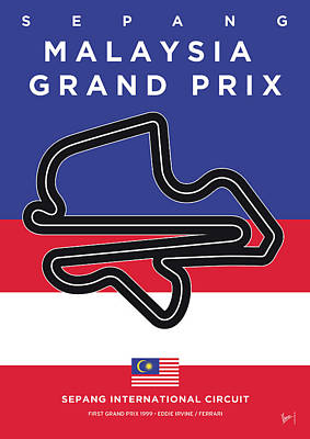 Edition Digital Art - My Malaysia Grand Prix Minimal Poster by Chungkong Art