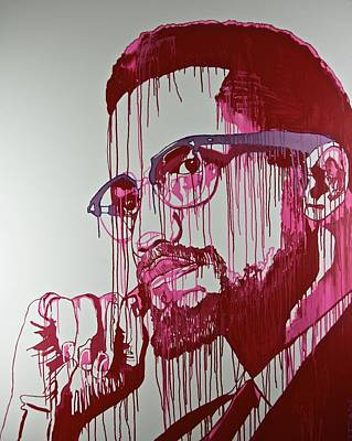 Malcolm X Mixed Media - My Man Red by Jiian Chapoteau