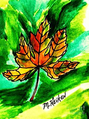 India Ink Wall Art - Painting - My Maple Leaf Is Falling by Marsha Heiken