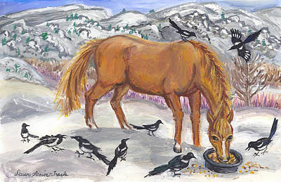 Magpies. Snow Painting - My Mare And The Magpies by Dawn Senior-Trask